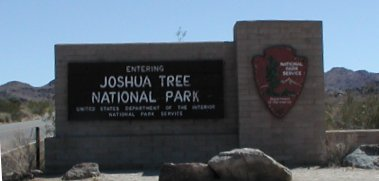 Entrance sign to Joshua Tree National Park